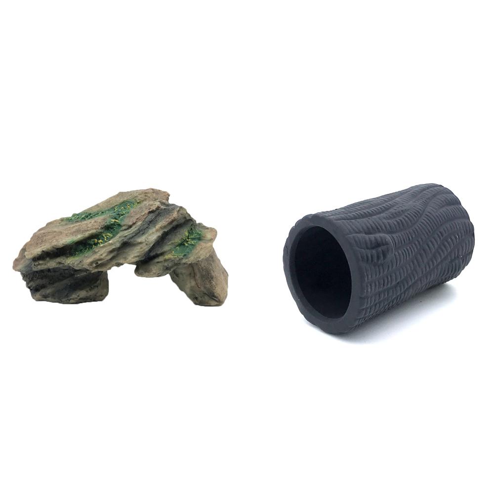 하온펫 수족관 장식용품 고인돌 1 + 디메이 블랙 TW1401, 1세트