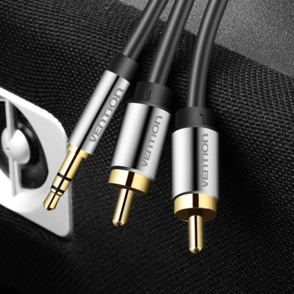벤션 무산소 3.5mm 스테레오 to 2 RCA 오디오 케이블 04.블랙/2m
