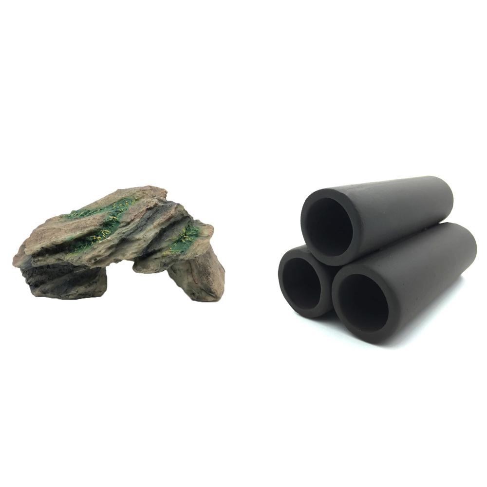 하온펫 수족관 장식용품 고인돌 1 + 흑3구, 1세트