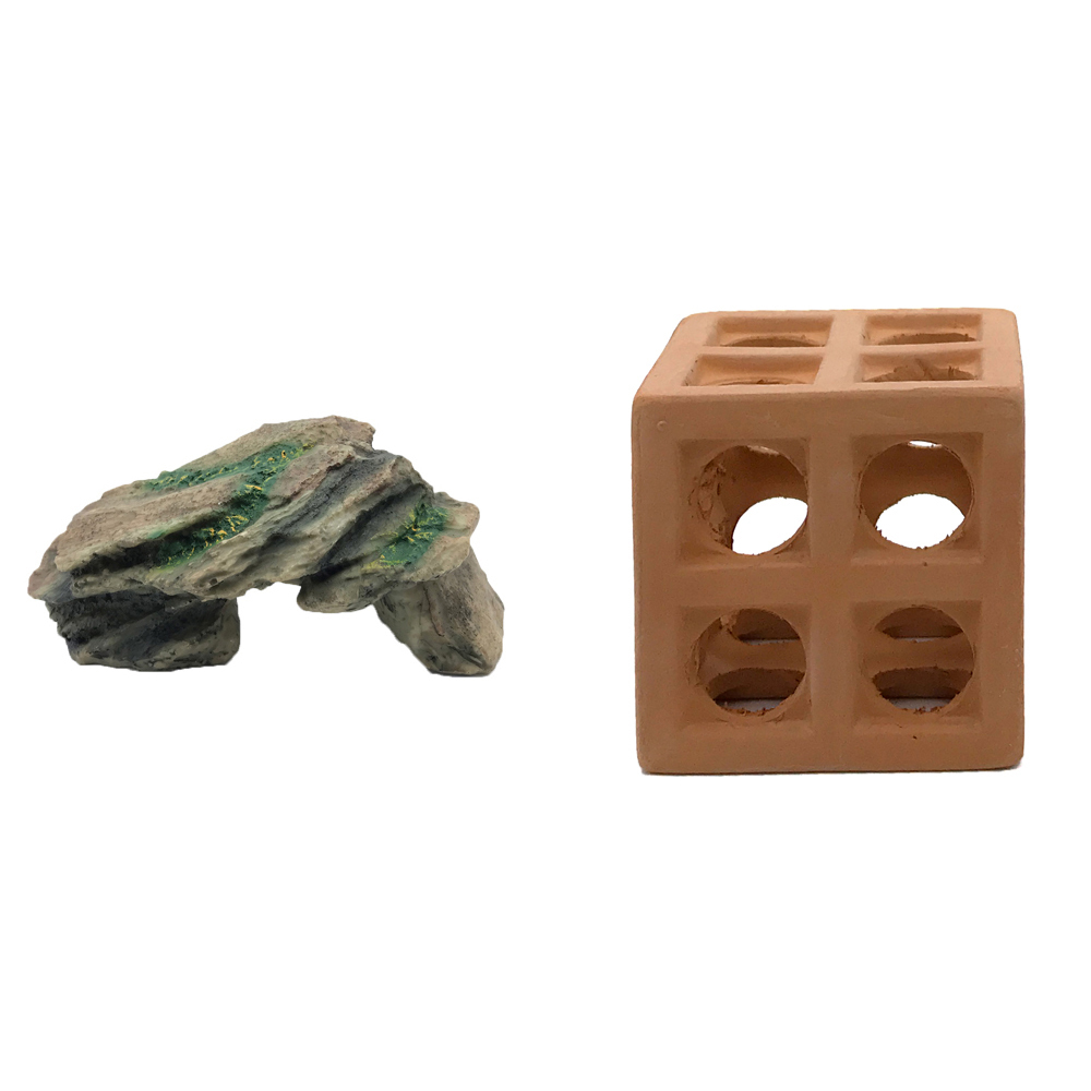 하온펫 수족관 장식용품 고인돌 1 + 큐브 놀이터, 1세트