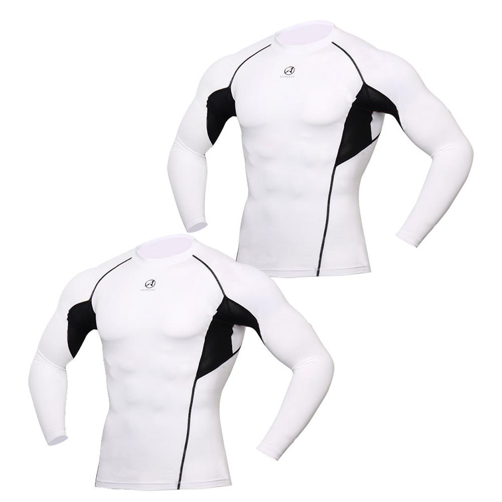 아르메데스 남성용 기능성 골프 이너웨어 긴팔 매쉬 쿨 티셔츠 R-142 2매, 화이트