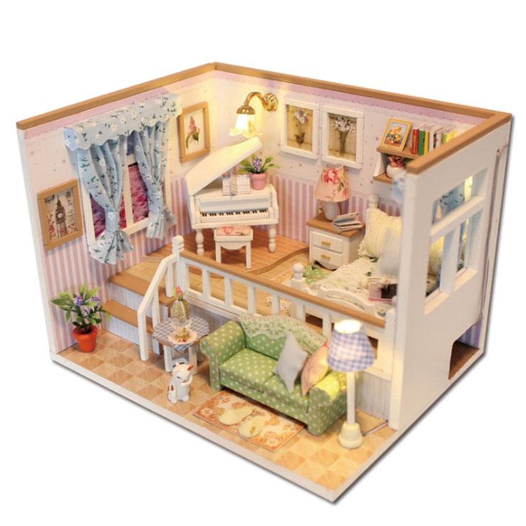 아디코 DIY 미니어처 하우스 키트 듀플렉스 하우스 키트, 혼합 색상