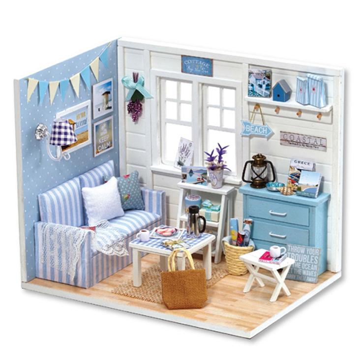 아디코 DIY 미니어처 하우스 키트 큐트 블루하우스 키트, 혼합 색상
