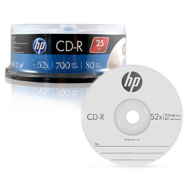 HP CD-R 52X 700MB 25p + 케익 트레이, 단일 상품
