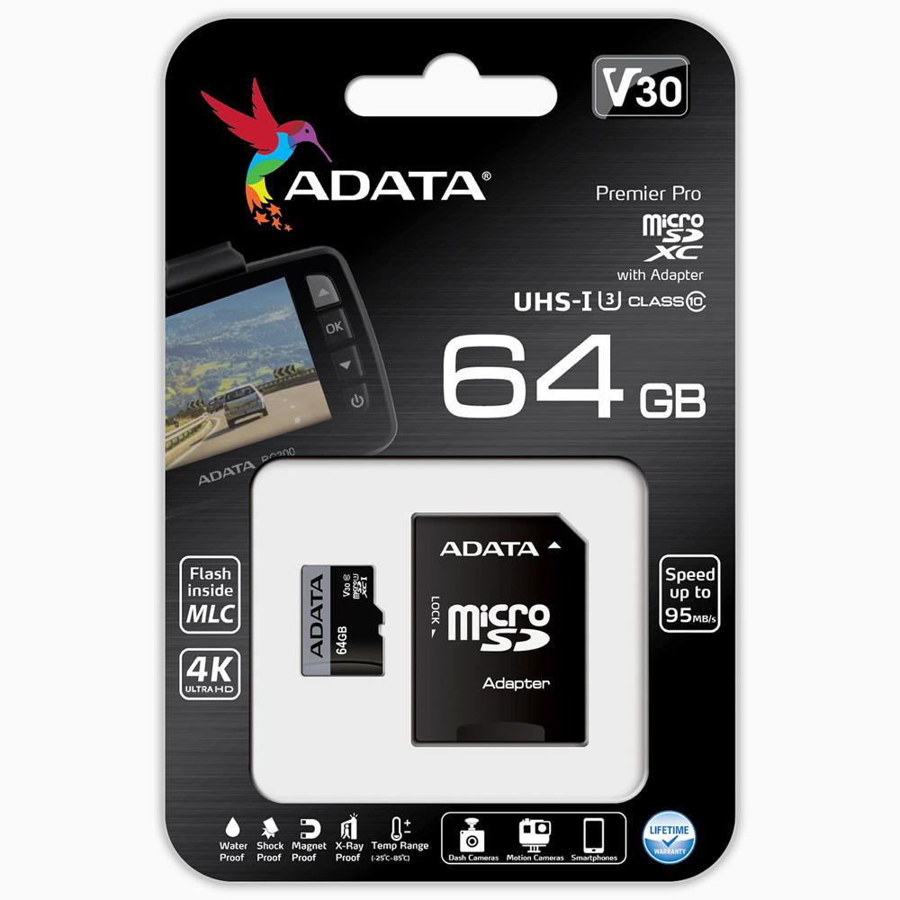 에이데이타 블랙박스 전용 마이크로 SD 메모리카드 V30S UHS-I U3 MLC + 어댑터, 64GB