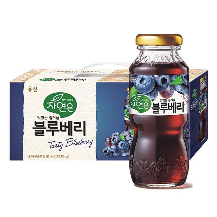 자연은 블루베리 음료 선물 세트, 180ml, 12개