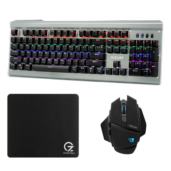 리줌 G-FACTOR LED 레인보우 컬러 기계식 청축 키보드 + 게이밍 마우스 + ZIO 프리미엄 게이밍 마우스 패드, 키보드(Z20), 마우스(Z5), 패드(Gz-MP320), 키보드(블랙), 마우스(혼합 색상), 패드(혼합 색상)