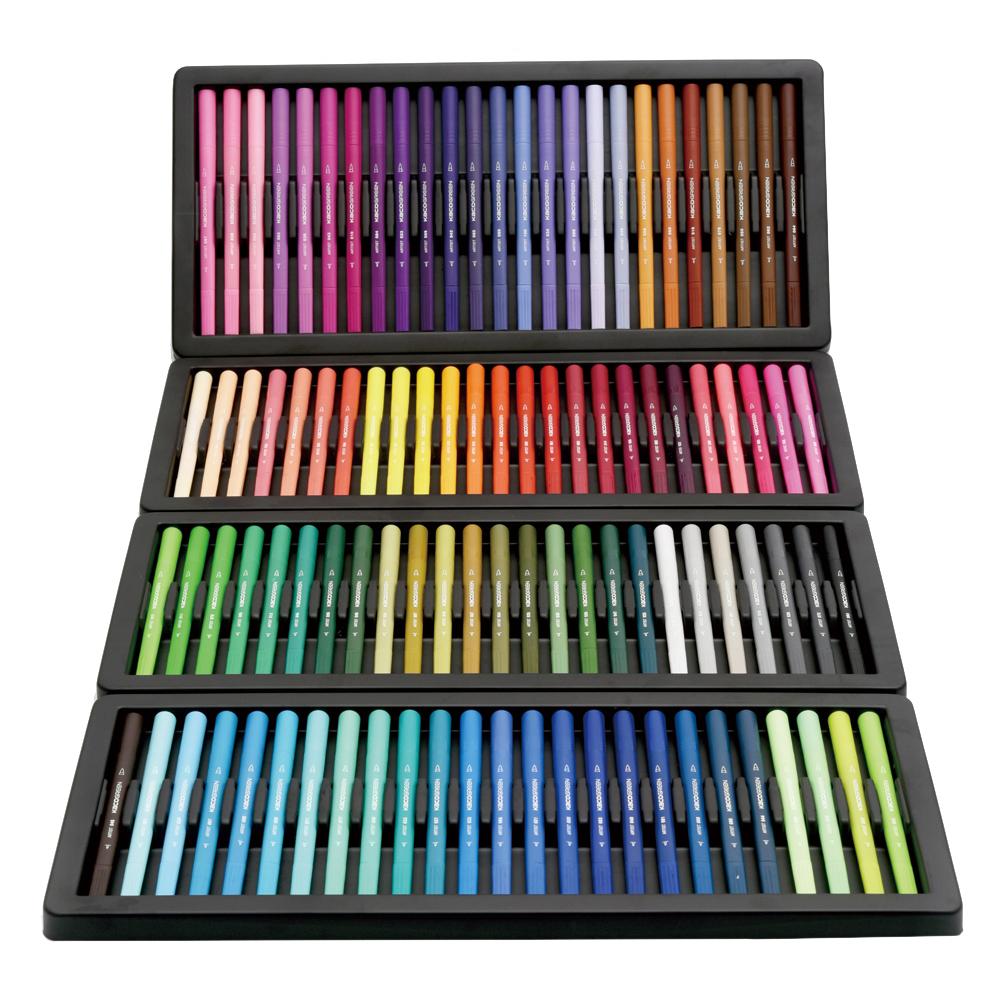 KACO ARTIST 100색 캘리그라피 트윈 붓펜, 혼합 색상, 1세트