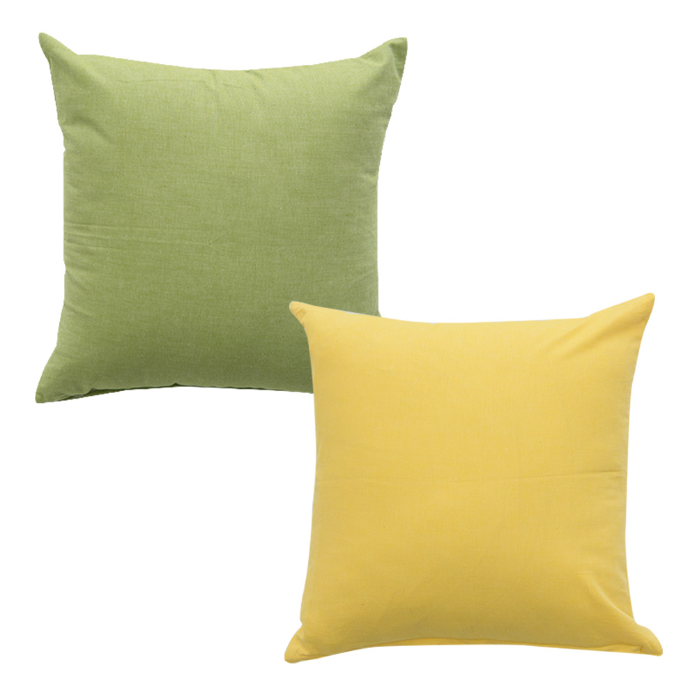 이코니하우스 선염 무지 쿠션 솜 포함 2p 세트, 연두, 옐로우