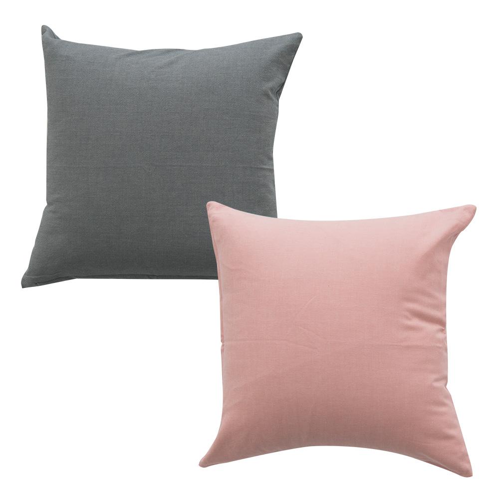 이코니하우스 선염 무지 쿠션 솜 포함 2p 세트, 그레이 , 핑크