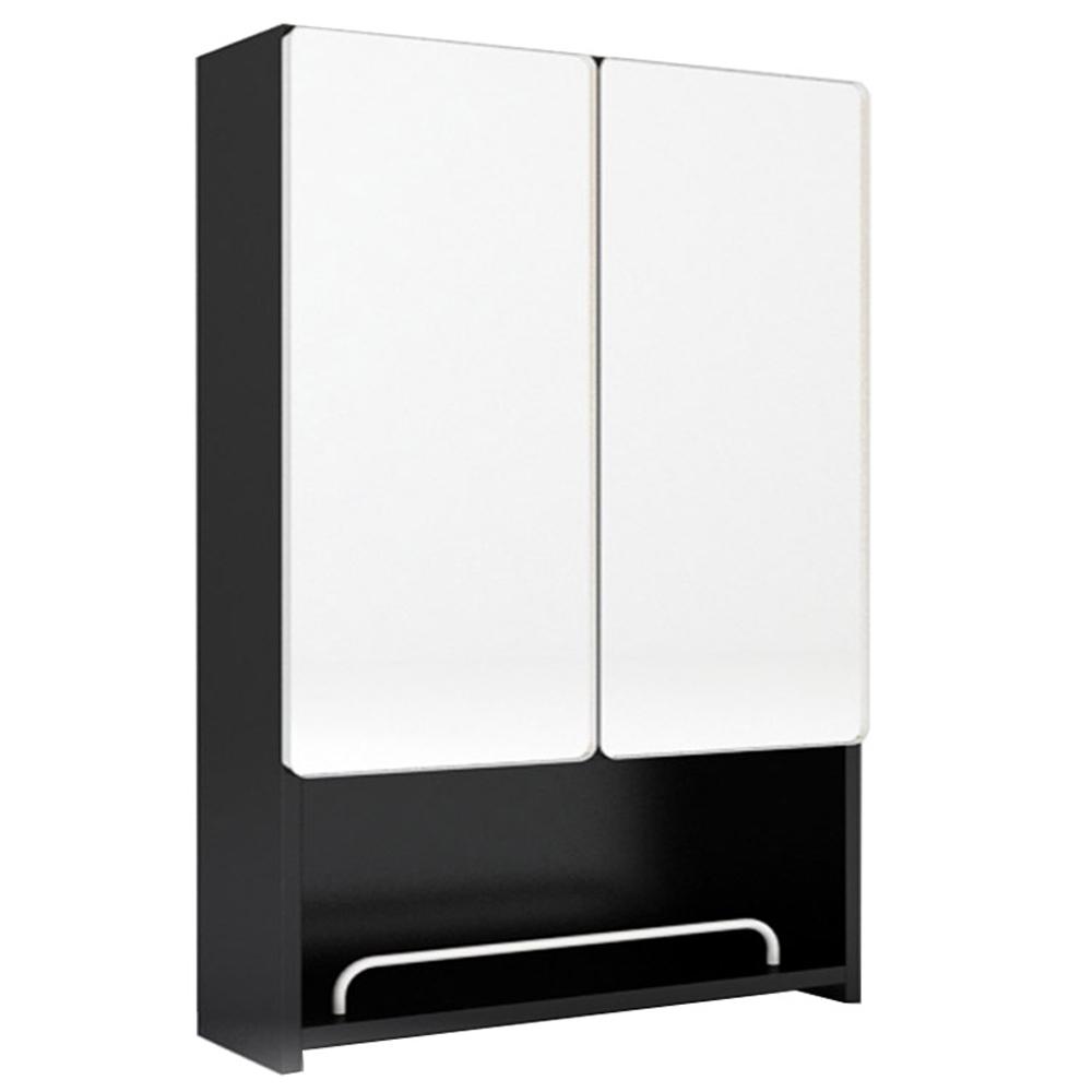 미노아 욕실 블랙밀러 오픈수납장 500, 블랙, 1개