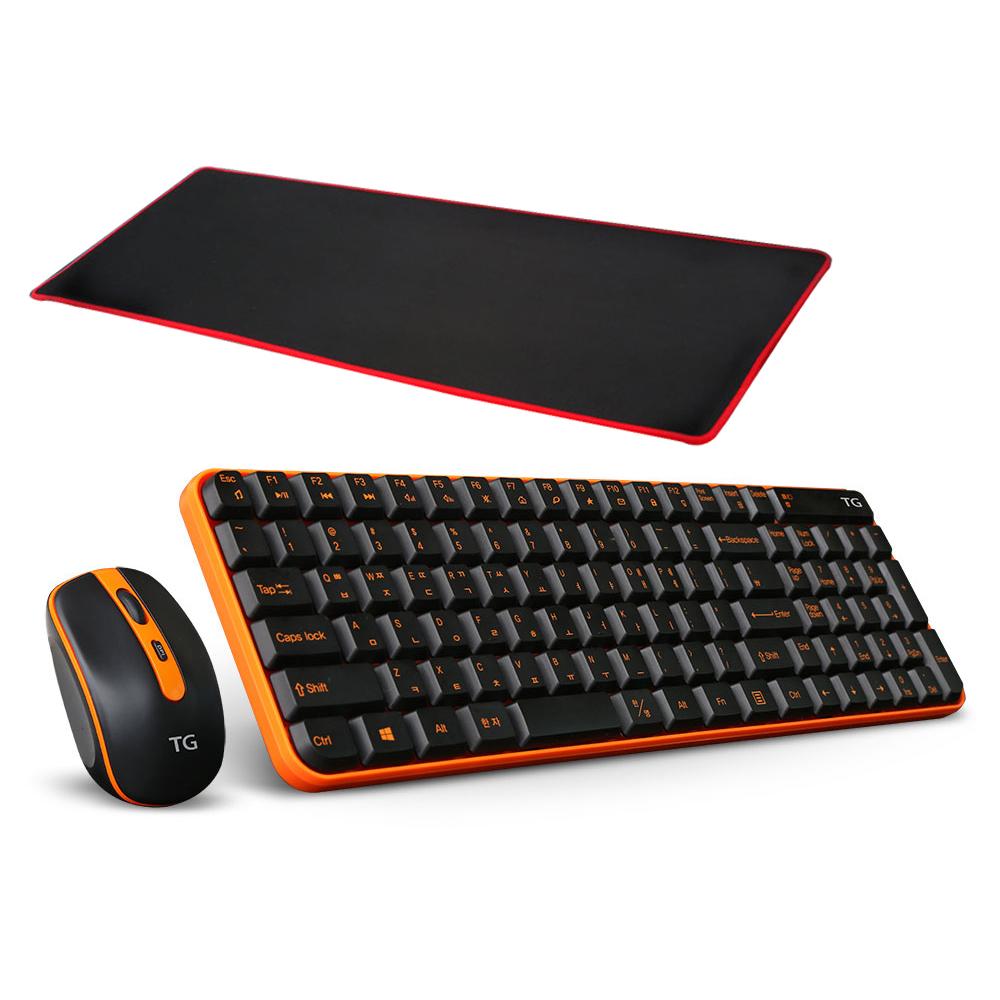 TG삼보 인체공학 무소음 키보드 마우스 세트 + 블레스정보통신 ZIO 게이밍 장패드 MP760, TG-Discovery 5000GS, 오렌지 + 블랙