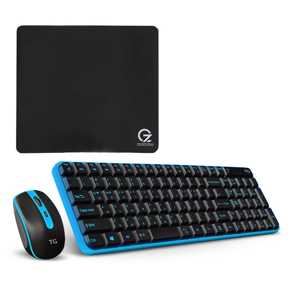TG삼보 인체공학 무소음 키보드 마우스 세트 + 블레스정보통신 ZIO 게이밍 마우스패드 Gz-MP450, TG-Discovery 5000GS, 블루 + 블랙