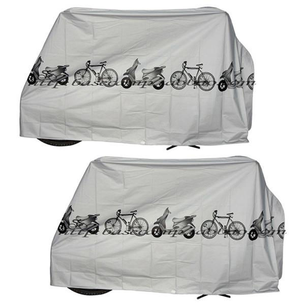 블럭마트 오토바이 자전거 방수커버, 그레이, 2개입