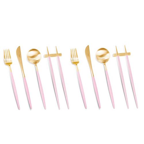 큐티폴 고아 디너 4종 2인조 커트러리 세트, 핑크골드, 스푼 2p + 젓가락 2p + 포크 2p + 나이프 2p