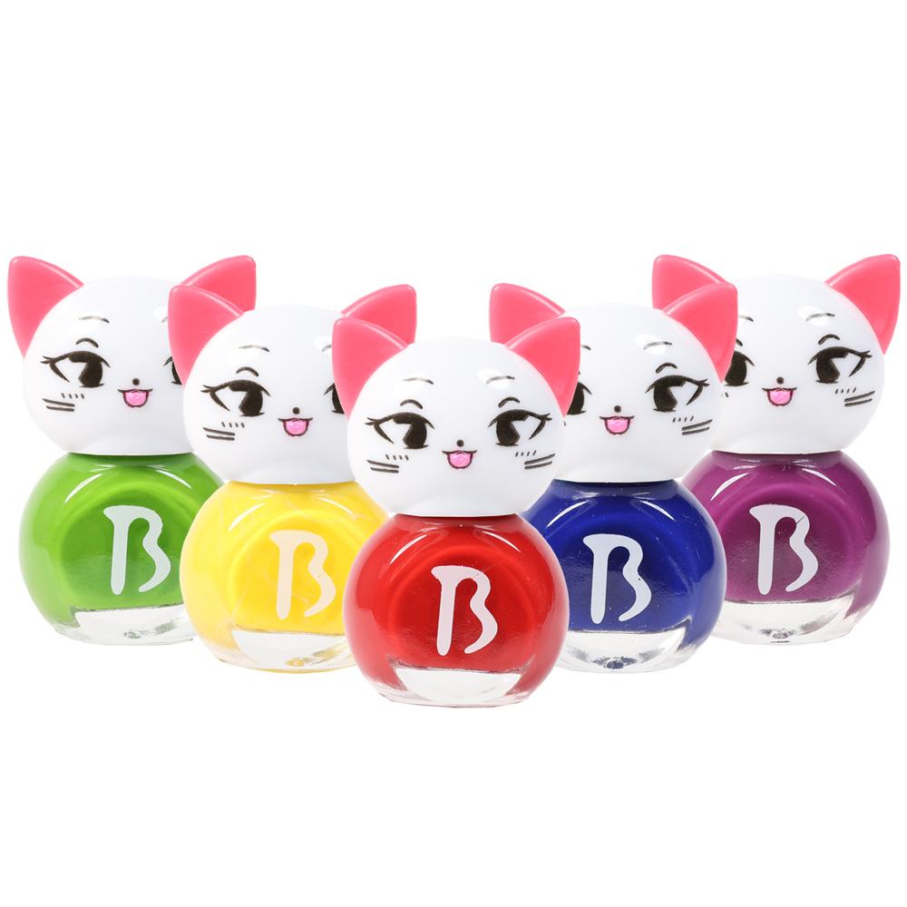 바블리 키즈네일 냥이 어린이매니큐어 레인보우 세트 5p, 혼합 색상, 1세트, 빨강 + 노랑 + 초록 + 파랑 + 보라
