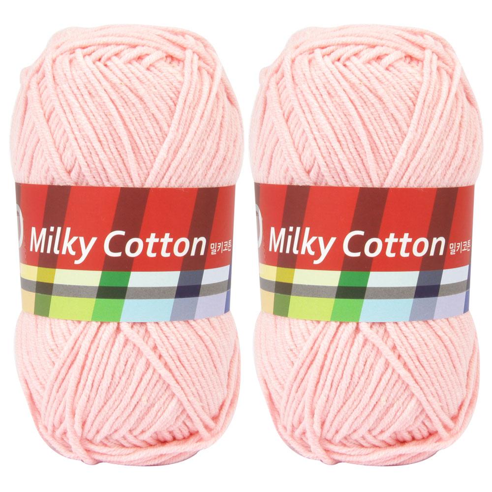 브랜드얀 밀키코튼 레드라벨 면혼방 뜨개실 2p, 25번 분홍