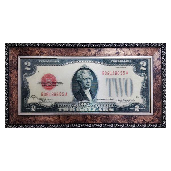 럭키심볼 행운의 선물 3D대형지폐 2달러, 고급앤틱35