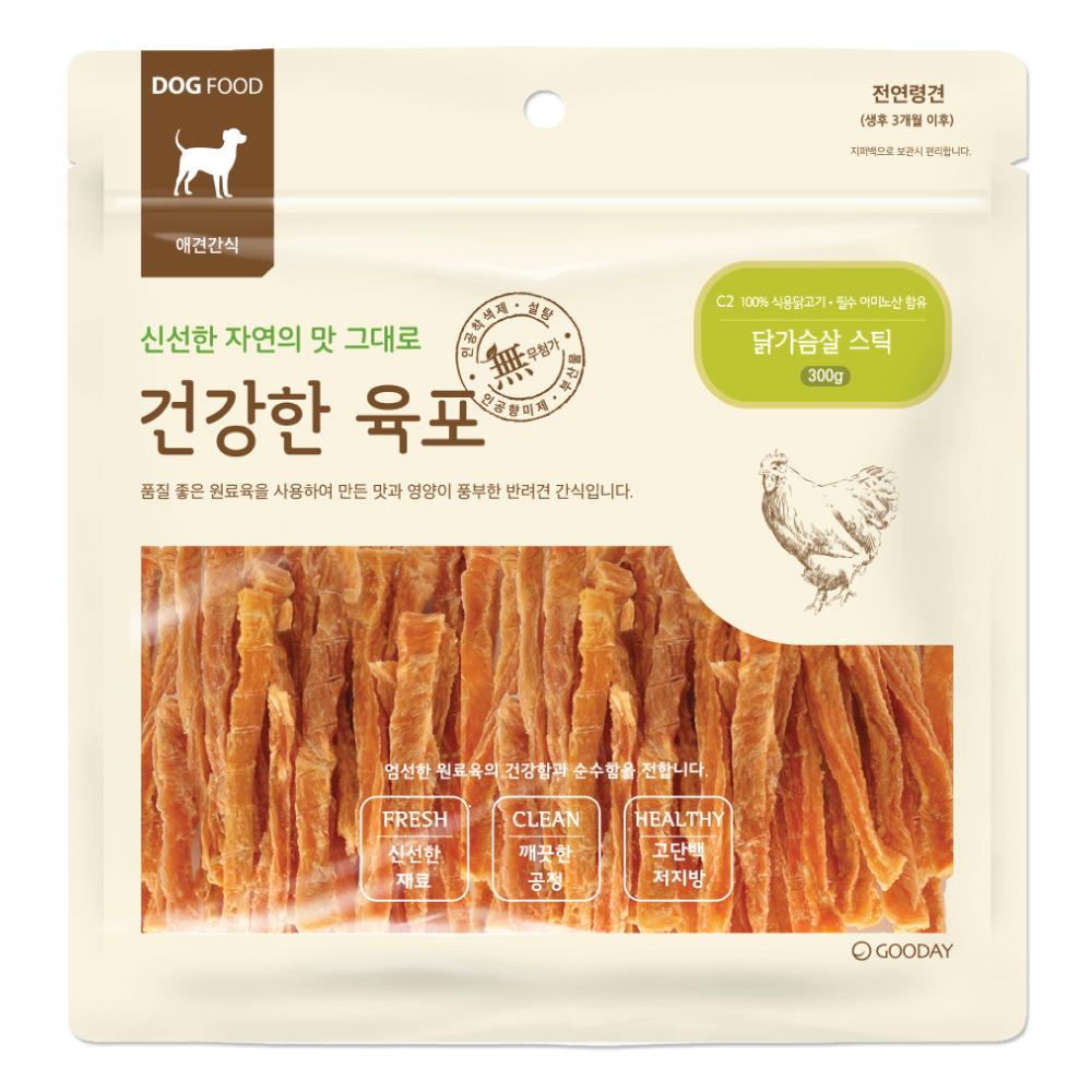 굿데이 건강한육포 반려견간식 대용량 300g, 닭가슴살 스틱, 1개
