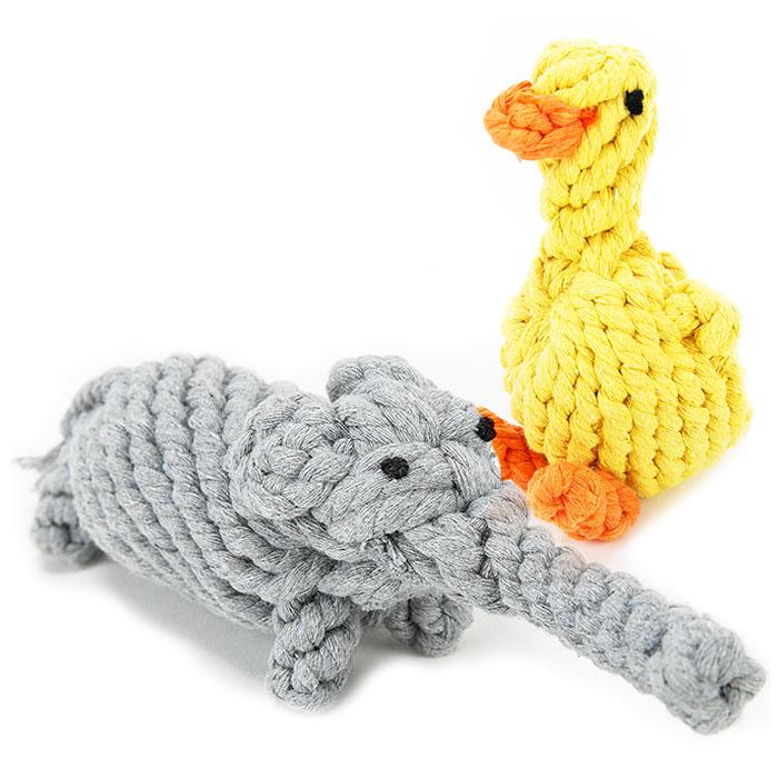 딩동펫 반려견 실타래 장난감 오리 8 x 13 cm + 코끼리 23 x 6 cm 세트, 혼합 색상, 1세트