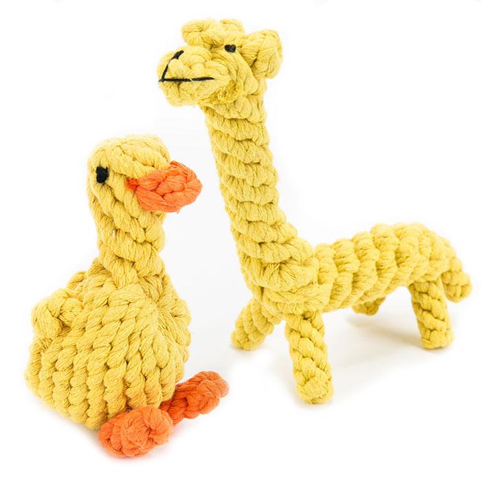 딩동펫 반려견 실타래 장난감 오리 8 x 13 cm + 기린 14 x 21 cm 세트, 혼합 색상, 1세트