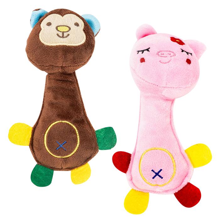 딩동펫 강아지장난감 원숭이인형 + 돼지인형, 혼합 색상, 1세트