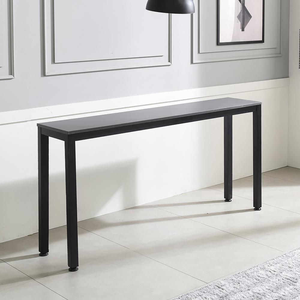 홈인홈 the 튼튼한 홈 바 테이블 1200 x 300 mm, 상판 (그레이) + 다리 (블랙)