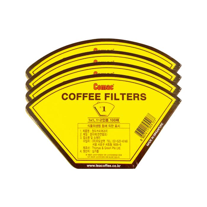 코맥 커피여과지 1Y 1~2인용, 100매입, 4개