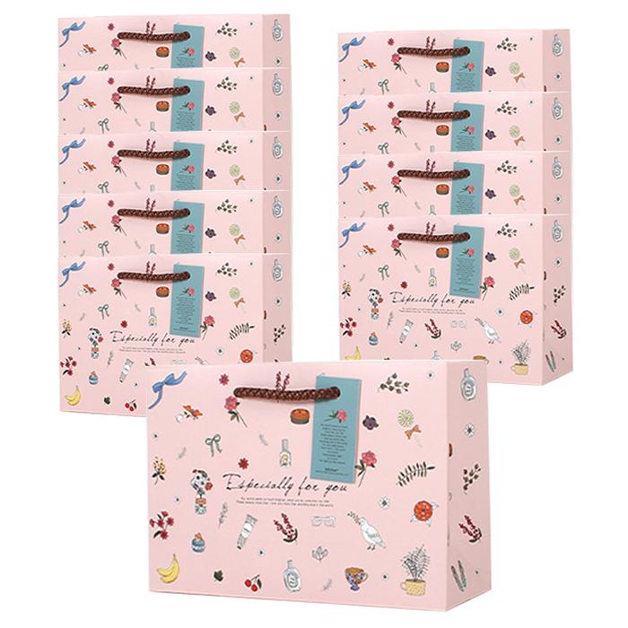톡톡팬시 1000 일러스트(102) 쇼핑백 10p, 핑크일러스트
