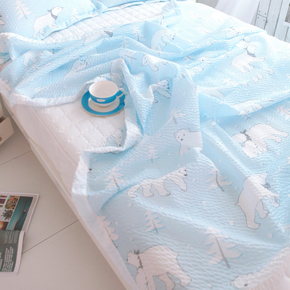 보몽드 시어서커 홑이불 쿨베어 2p, 블루, 핑크-9-97509625