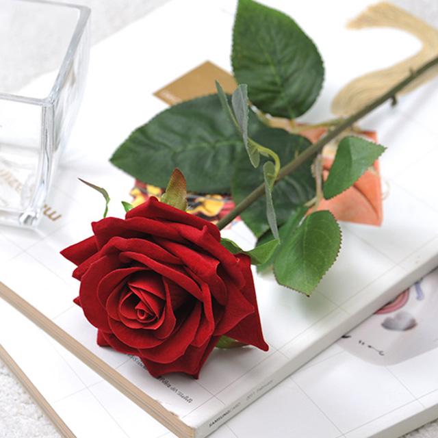 행복한세상 조화 한송이 벨벳 장미가지 3p, 혼합 색상