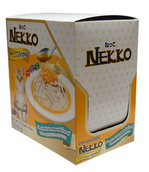 네코 그레이비 참치 토핑 연어 고양이 습식사료, 70g, 12개입