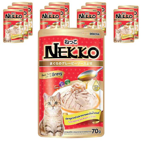 네코 그레이비 참치 토핑 도미 고양이 습식사료, 70g, 12개입