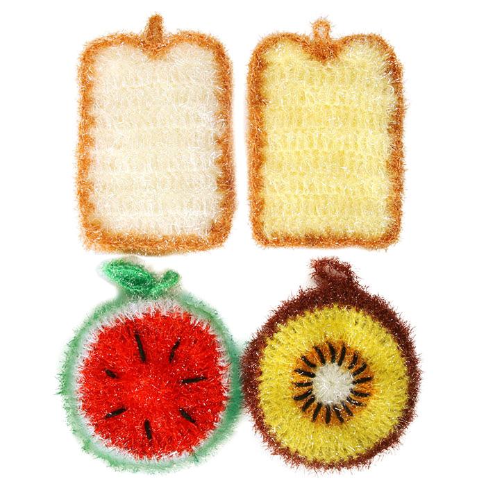 유하우스 난달라 샌드위치 2겹 아크릴수세미, 4매, 1세트 (POP 202671219)