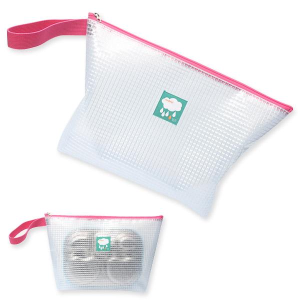 큐트에코 NEW 투명 방수 네임 라벨 식판 파우치, 핑크