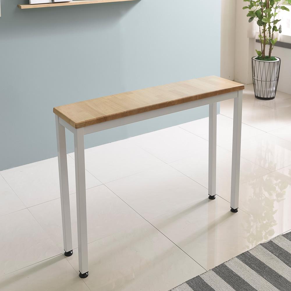홈인홈 the튼튼한 원목 홈바테이블 1200 x 400 mm, (상판)러버트리 + (다리)화이트