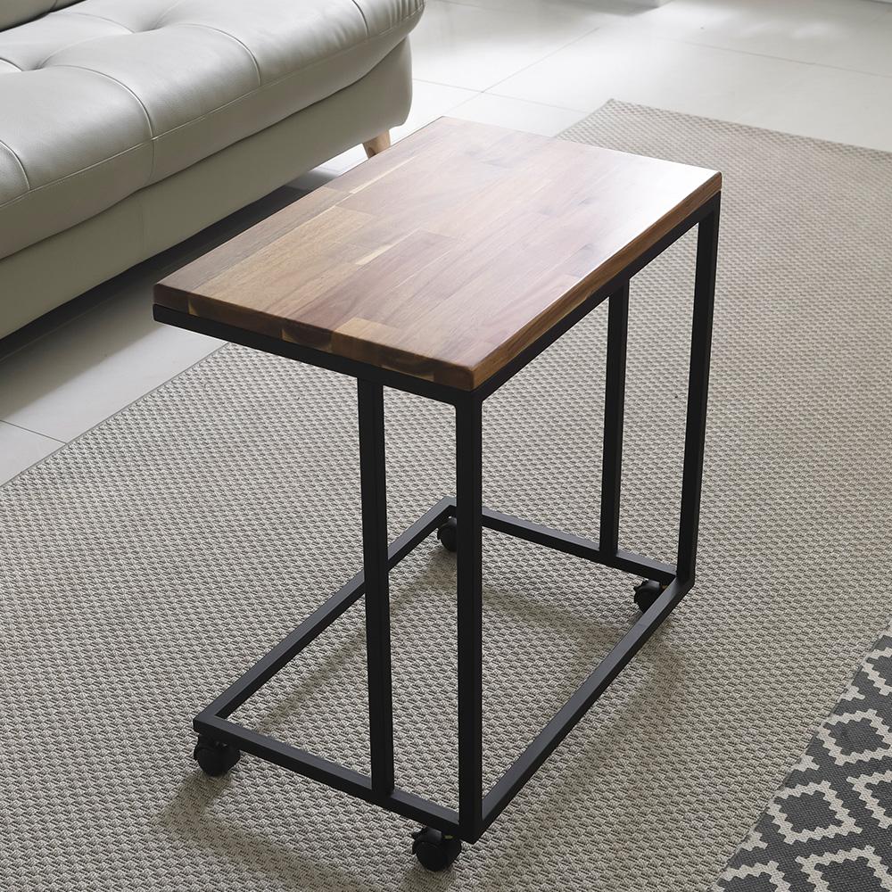 홈인홈 the튼튼한 이동식 원목 사이드 테이블 600 x 400 mm, (상판)아카시아 + (다리)블랙