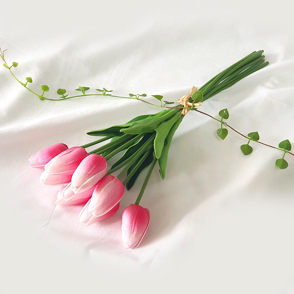 조아트 향기나는 튤립 9송이 조화 꽃다발, 딥핑크