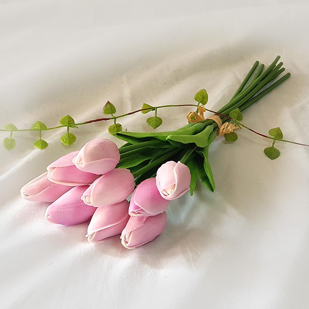 조아트 향기나는 튤립 9송이 조화 꽃다발, 퍼플