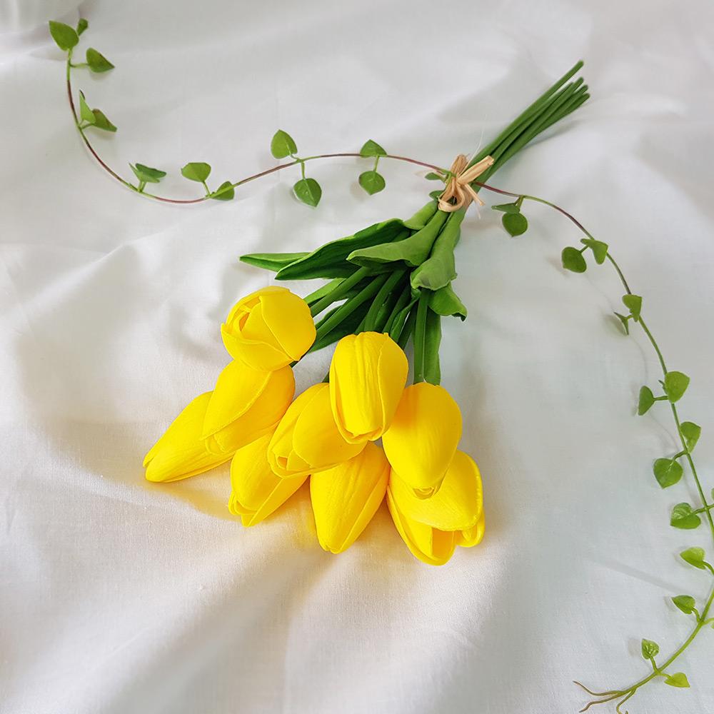 조아트 향기나는 튤립 9송이 조화 꽃다발, 옐로우