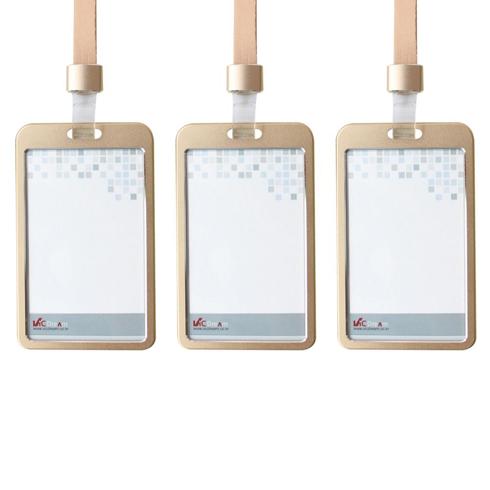 빅드림 6042 메탈ID 사원증 카드홀더 명찰 + 끈 세트 세로형, 메탈골드, 3세트