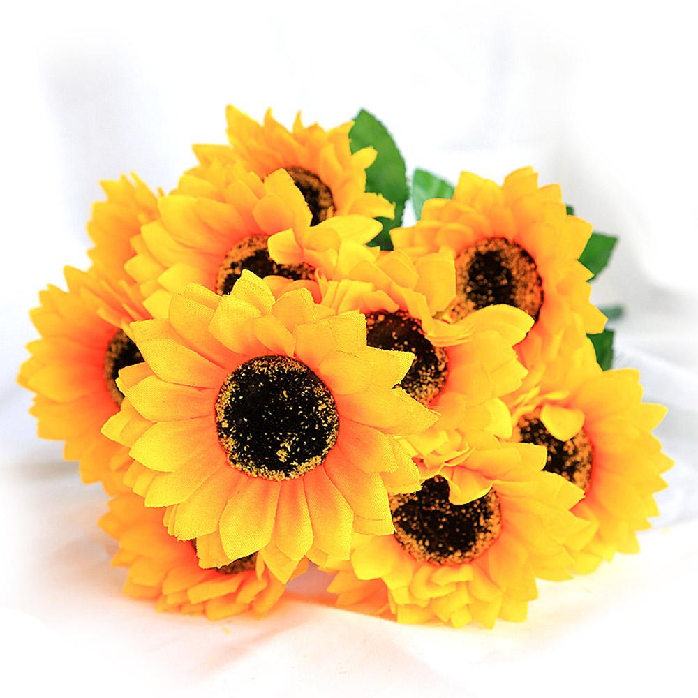 조아트 조화 12송이 해바라기 꽃다발, 혼합 색상