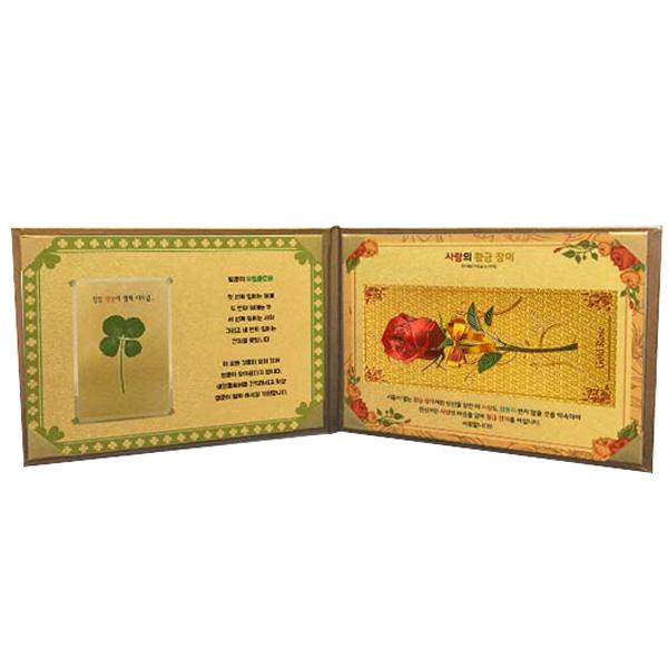 럭키심볼 행운의 선물 사랑의 황금지폐  생화 네잎클로버 57케이스 세트 황금장미
