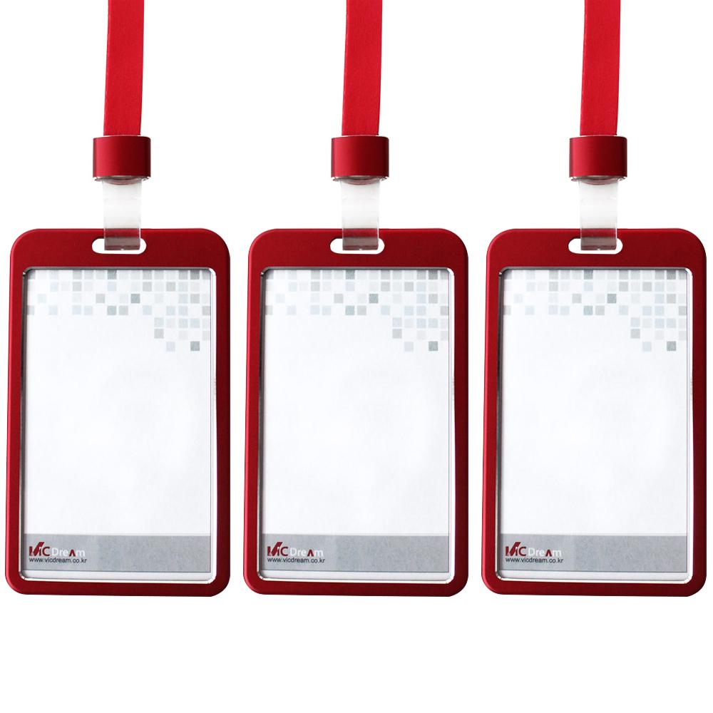 빅드림 6042 메탈 ID사원증 카드홀더 명찰 + 끈 세트 세로형, 메탈레드(카드홀더), 레드(끈), 3세트
