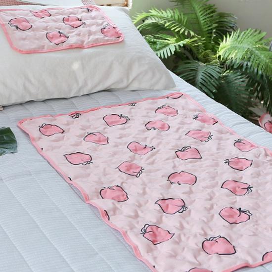바자르 모모찡 여름 쿨젤 중형매트 + 베개, 핑크