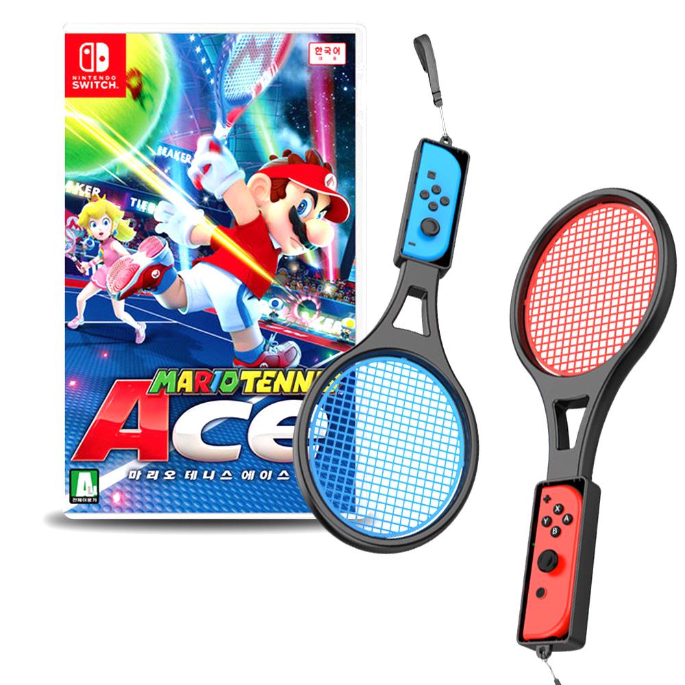 닌텐도 마리오 테니스 에이스 게임 + 조이콘 테니스 라켓 2p 패키지, 1세트