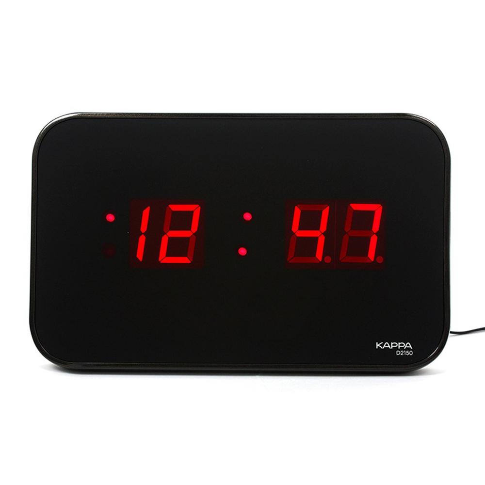 카파 고휘도 슈퍼 RED 디지털 LED 벽걸이 탁상 겸용 시계 D2150, 블랙