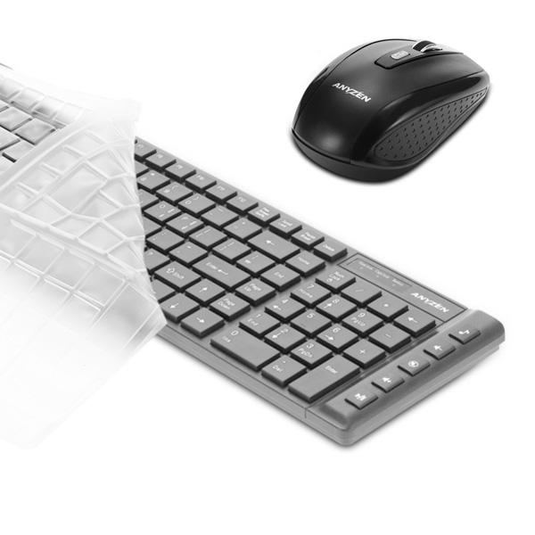 애니젠 무선 키보드 + 마우스 세트, MK220, 블랙