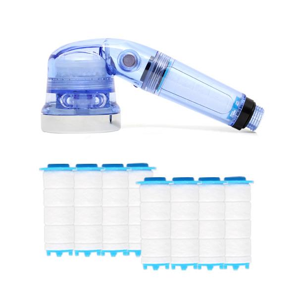 샤워플러스 SF1000 싱크대 핸디형 정수필터헤드 일반형 연수기 블루 + 녹물제거필터 8p, 1세트