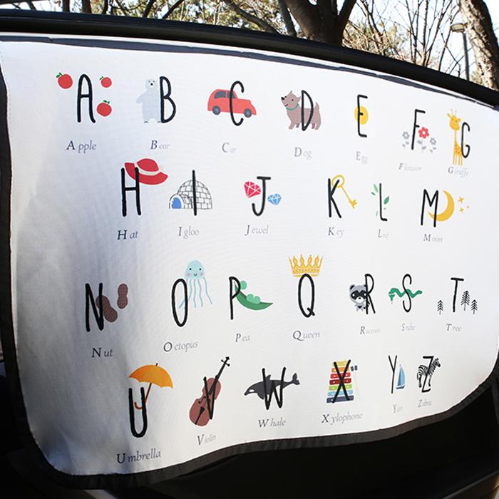 베베데코 차량용 키즈 알파벳 자석 햇빛가리개, 화이트, 1개